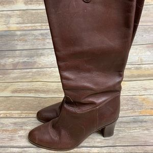 J crew heeled boots size 9 brown leather pull on